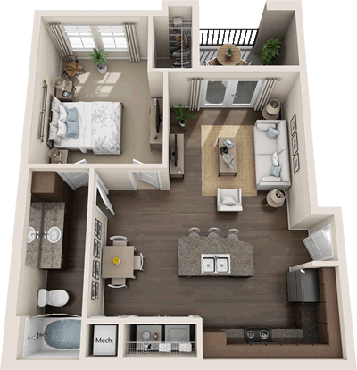 A1 - One Bedroom / One Bath - 765 Sq. Ft.*
