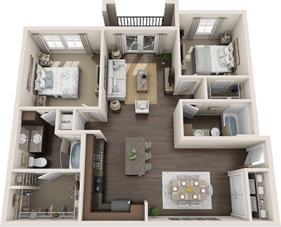 B1- Two Bedroom / Two Bath - 1,093 Sq. Ft.*