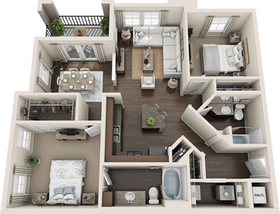 B2 - Two Bedroom / Two Bath - 1,118 Sq. Ft.*